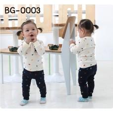 BG0003 ชุดเสื้อคอกลมแขนยาว และกางเกงขายาว ลายโปโล สีขาว-ดำ