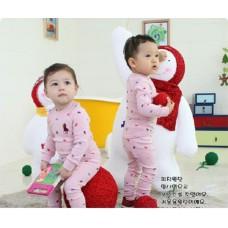BG0005 ชุดเสื้อคอกลมแขนยาว และกางเกงขายาว ลายโปโล สีชมพู