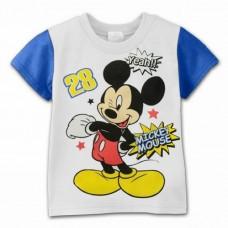 BG0008 เสื้อยืดแขนสั้นดิสนีย์สีขาว ลายมิคกี้ เมาส์ (Mickey Mouse) ขอบแขนสีน้ำเงิน