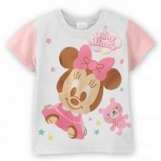 BG0009 เสื้อยืดแขนสั้นดิสนีย์สีขาว ลายเบบี้มินนี่ (Baby Minnie) ขอบแขนสีชมพู