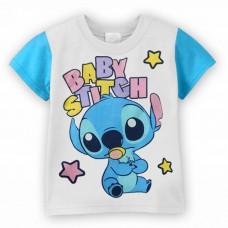 BG0010 เสื้อยืดแขนสั้นดิสนีย์สีขาว ลายเบบี้สติชท์ (Baby Stitch) ขอบแขนสีฟ้า