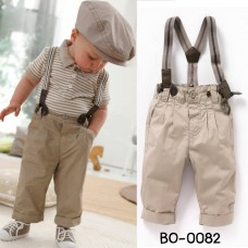 bo0082 เสื้อเด็กผู้ชาย ลายขวางสีน้ำตาล + สายเอี๊ยม + กางเกงสีน้ำตาล (3ชิ้น) S.110