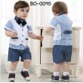 bo0095 ชุดเด็กผู้ชายออกงาน เสื้อเชิ๊ตแขนสั้น ติดหูกระต่ายสีดำ (ถอดออกได้) + เสื้อกั๊กสีขาว + กางเกงขาสั้นสีน้ำเงิน (4ชิ้น)