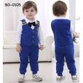 bo0105 ชุดเด็กผู้ชายออกงาน เสื้อเชิ๊ตแขนยาวสีขาว เสื้อกั๊กสีน้ำเงิน ติดหูกระต่ายสีดำ กางเกงขายาวสีน้ำเงิน (4ชิ้น)