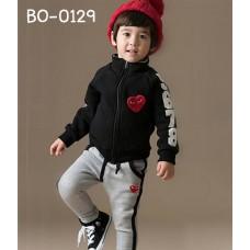 BO0129 ชุดวอร์มเด็ก เสื้อคลุมกันหนาวซิปหน้าลาย Play แขนยาว สีดำ + กางเกงวอร์ม สีเทา (2ชิ้น)