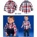 bo0135 ชุดเด็กผู้ชาย เสื้อเชิ๊ตแขนยาวลายสก๊อต + กางเกงขายาว (2ชิ้น) S.80/110