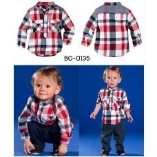 bo0135 ชุดเด็กผู้ชาย เสื้อเชิ๊ตแขนยาวลายสก๊อต + กางเกงขายาว (2ชิ้น) S.80
