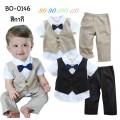 BO0146 ชุดเด็กผู้ชายออกงาน กั๊กเย็บติด แขนสั้น ติดหูกระต่ายสีน้ำเงินลายจุด + กางเกงขายาว สีกากี (2ชิ้น)