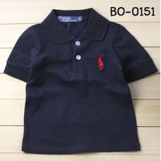 BO0151 เสื้อเด็กผู้ชาย คอปก แขนสั้น  โปโล ปักม้าสีแดง สีกรมท่า