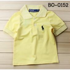 BO0152 เสื้อเด็กผู้ชาย คอปก แขนสั้น  โปโล ปักม้าสีแดง สีเหลือง