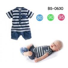 BS0630 ชุดบอดี้สูทเด็กผู้ชาย ลายขวาง แต่งผ้ายีนส์ กระเป๋า กางเกง
