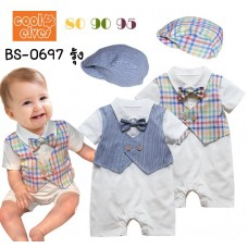 BS0697 ชุดบอดี้สูทออกงาน เด็กผู้ชาย แขนสั้นสีขาว ติดหูกระต่าย เสื้อกั๊กลายสก๊อตสีรุ้ง พร้อมหมวก (2ชิ้น) S.95