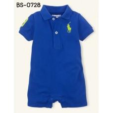 BS0728 ชุดบอดี้สูทเด็ก ยี่ห้อโปโล ตัวม้าสีเหลือง คอปกสีน้ำเงิน