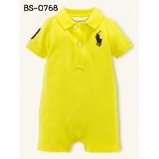 BS0768 ชุดบอดี้สูทเด็ก ยี่ห้อโปโล ตัวม้าสีดำ คอปกสีเหลือง S.80