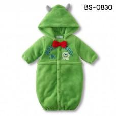 BS0830 ชุดบอดี้สูทแฟนซี / ถุงนอนเด็ก แบบเปิดปลายขา แขนยาวพร้อมฮู้ดดิสนีย์ ลายสัตว์ประหลาดตาเดียวไมค์ Monsters, Inc. สีเขียว