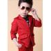 BO0607 ชุดสูทเด็กผู้ชายออกงาน เสื้อคลุมสูทแขนยาว และกางเกงขายาว สีแดง (2ชิ้น)