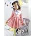 GI0545 เดรสเด็กผู้หญิง ติดโบว์ที่คอ สีม่วงตัดขาว แขนยาว สีชมพู