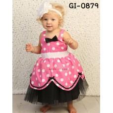 GI0879 ชุดออกงานเด็กผู้หญิงสายเดี่ยวลายจุดสีชมพู ติดโบว์ขอบระบายสีดำ