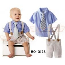 BO0178 ชุดเอี๊ยมเด็กผู้ชาย เสื้อเชิ๊ตแขนสั้น สีฟ้า + เนคไท ลายจุด (ถอดออกได้) + สายเอี๊ยมเย็บติด กางเกงขาสั้น ลายทาง (3ชิ้น)