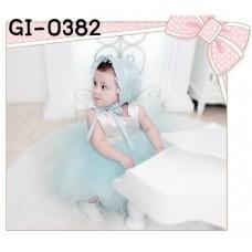 GI0382 เดรสเด็กผู้หญิง ออกงานแขนกุดสีขาว กระโปรงฟูฟ่องสีเขียว (ไม่รวมหมวก) S.110