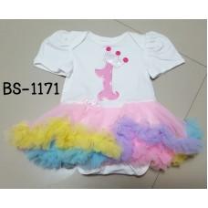 BS1171X << สินค้ามีตำหนิ >> ชุดบอดี้สูทแฟนซี เด็กผู้หญิงแขนสั้นสีขาว ลายเลข 1 กระโปรงฟูฟ่องสีรุ้ง M (3-6m)
