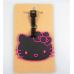 IT0266 ป้ายชื่อห้อยกระเป๋า ยางปั้มนูน ลายหน้าคิตตี้สีดำ