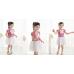 GI0135 เดรสเด็กผู้หญิง คอกลม ติดโบว์สีขาวที่คอ แขนสั้น ลายขวางสีขาวสลับชมพูเข้ม
