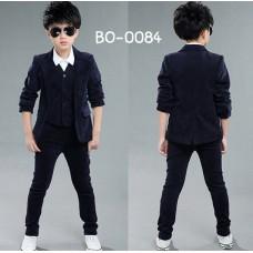 BO0084 ชุดสูทเด็กผู้ชายออกงาน เด็กโต สุดคุ้ม เสื้อสูท + เสื้อกั๊ก + กางเกงขายาวกรมท่าเกือบดำ (3ชิ้น)