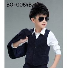 BO0084B เสื้อกั๊กเด็กผู้ชายออกงาน เด็กโต สีกรมท่าเกือบดำ S.150