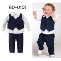 BO0101 ชุดเด็กผู้ชายออกงาน เสื้อเชิ๊ตแขนยาวสีขาว + เสื้อกั๊ก + กางเกงขายาว สีกรมท่า (3ชิ้น)