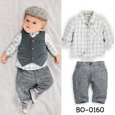 BO0160 ชุดเด็กผู้ชาย เสื้อเชิ๊ตลายตาราง + เสื้อกั๊ก + กางเกงขายาว สีเทา (3ชิ้น) ไม่รวมหมวก
