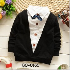 BO0165 เสื้อเชิ๊ตเด็กผู้ชาย แบบเย็บติด คอปก  แขนยาว หูกระต่ายลายจุด (ถอดออกได้)  สีดำ (2ชิ้น)