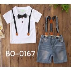 BO0167 ชุดเด็กผู้ชายออกงาน เสื้อคอปกแขนสั้นสีขาว ติดหูกระต่าย + กางเกงยีนส์ขาสั้น และสายเอี๊ยม (3ชิ้น)