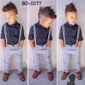 BO0177 ชุดเอี๊ยมเด็กผู้ชาย เสื้อเชิ๊ตแขนยาวสีกรมท่า + สายเอี๊ยม + กางเกงขายาว (3ชิ้น)