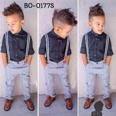 BO0177S ชุดเอี๊ยมเด็กผู้ชาย เสื้อเชิ๊ตแขนยาวสีดำ + สายเอี๊ยม + กางเกงขายาว (3ชิ้น)