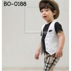 BO0188 ชุดเด็กผู้ชาย เสื้อคอกลม แขนสั้น สีดำ สกรีน BALLY PARIS + เสื้อกั๊กสีขาว + กางเกง ลายสก๊อต สีกากี (3ชิ้น)