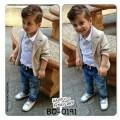 BO0191 ชุดเด็กผู้ชาย เสื้อคอปก แขนยาว สีขาว+ เสื้อคลุม/เสื้อสูท แขนยาว สีกากี + กางเกงยีนส์ (3ชิ้น)