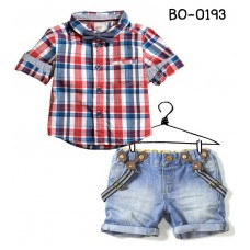 BO0193 ชุดเด็กผู้ชาย แนว H&M เสื้อลายสก๊อต + สายเอี๊ยม และกางเกงยีนส์ขาสั้น (3ชิ้น) S.110