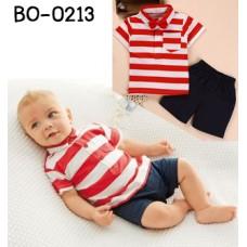 BO0213 ชุดเด็กผู้ชาย ออกงาน คอปก แขนสั้น แต่งกระเป๋าที่อก ลายขวางสีขาวสลับแดง + กางเกงขาสั้นสีดำ (2ชิ้น) ไม่มีหูกระต่าย S.120