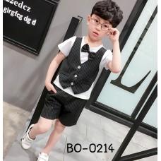 BO0214 ชุดเด็กผู้ชายออกงาน เสื้อคอกลมสีขาวแขนสั้น กั๊กเย็บติด + หูกระต่าย + กางเกงลายทางสีดำ (3ชิ้น) S.100
