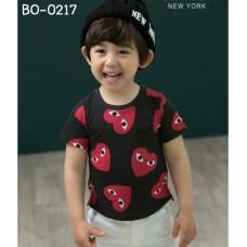 BO0217 เสื้อเด็กผู้ชาย คอกลม แขนสั้น สกรีนหัวใจสีแดง ลาย Play สีดำ S.110