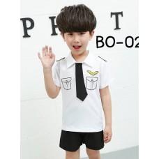 BO0229XB3  << สินค้ามีตำหนิ >> ชุดนักบินเด็กผู้ชาย เสื้อสีขาว เนคไทด์และ กางเกงขาสั้น สีดำ (3ชิ้น) S.150