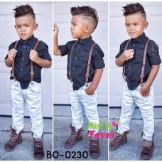 BO0230 ชุดเอี๊ยมเด็กผู้ชาย เสื้อเชิ๊ตแขนยาวสีดำ + สายเอี๊ยม + กางเกงขายาวสีขาว (3ชิ้น)