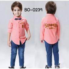 BO0239 ชุดเด็กผู้ชายออกงาน เสื้อเชิ๊ตแขนยาวลายทางสีส้ม หูกระต่ายจุดน้ำเงิน กางเกงยีนส์ขายาว (3ชิ้น)