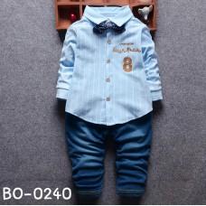 BO0240 ชุดเด็กผู้ชายออกงาน เสื้อเชิ๊ตแขนยาวลายทางสีฟ้า หูกระต่ายจุดน้ำเงิน กางเกงยีนส์ขายาว (3ชิ้น)