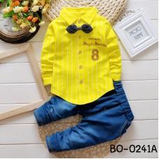 BO0241A ชุดเด็กผู้ชายออกงาน เสื้อเชิ๊ตแขนยาวลายทางสีเหลือง หูกระต่ายจุดน้ำเงิน กางเกงยีนส์ขายาว (3ชิ้น)