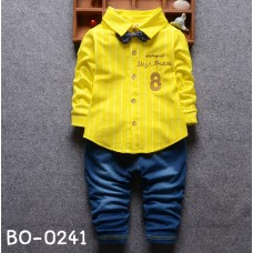 BO0241 ชุดเด็กผู้ชายออกงาน เสื้อเชิ๊ตแขนยาวลายทางสีเหลือง หูกระต่ายจุดน้ำเงิน กางเกงยีนส์ขายาว (3ชิ้น) S.80/100