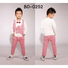 BO0252 ชุดเด็กผู้ชายออกงาน ติดหูกระต่ายสีแดง กางเกงขายาวลายตารางสีขาวแดง (3ชิ้น)