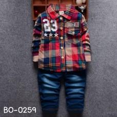 BO0259 ชุดเด็กผู้ชายออกงาน เสื้อเชิ๊ตแขนยาวลายสก๊อตโทนสีแดง 23 กางเกงยีนส์ขายาว (2ชิ้น) S.80