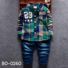 BO0260 ชุดเด็กผู้ชายออกงาน เสื้อเชิ๊ตแขนยาวลายสก๊อตโทนสีเขียว 23 กางเกงยีนส์ขายาว (2ชิ้น)